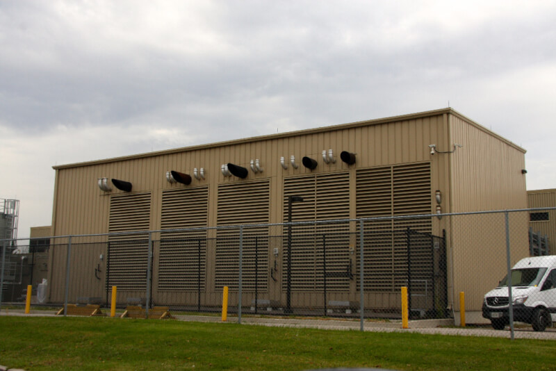 Industrial Building with large ventilation louvers on sidewall