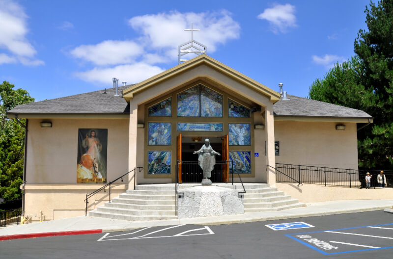 modern Church design with steel structure and stucco insulated wall panels